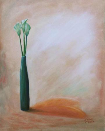 Drei kleine Callas in Vase