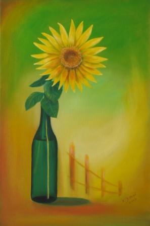 Sonnenblume in Flasche